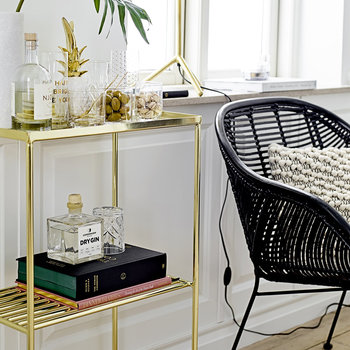 Grid Side Table - Gold