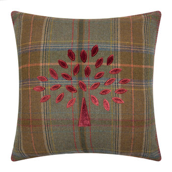 Mulberry Tree Plaid Cushion - 50x50cm - Red