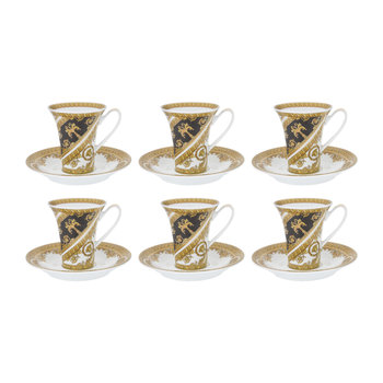 I Love Baroque Cup & Saucer - Set of 6 - Gold