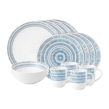 Ellen DeGeneres 16 Piece Set - Dark Blue Chevron