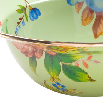 Flower Market Enamel Serving Bowl - Green