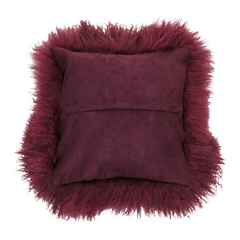 Mongolian Lambskin Cushion - Red
