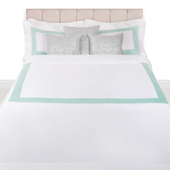 Neo Moire Jacquard Duvet Set - White/Green - Super King