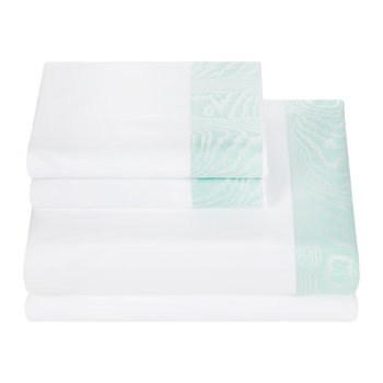 Neo Moire Jacquard Sheet Set - White/Green - Super King