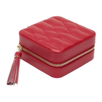 Caroline Zip Travel Jewellery Case - Red
