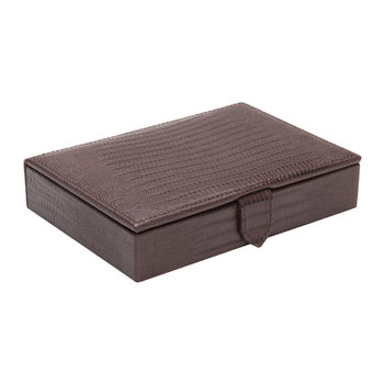 Blake Cufflink Box - Brown Lizard