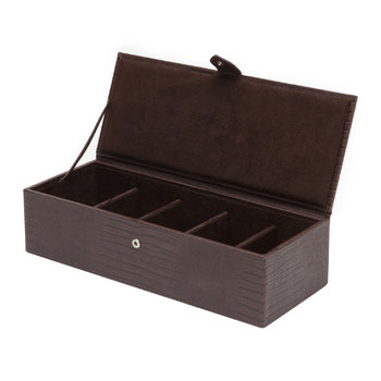 Blake 5 Piece Watch Box - Brown Lizard