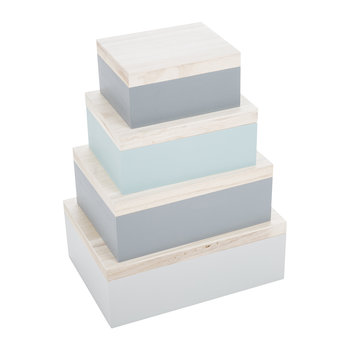 Mint/Gray Storage Boxes - Set of 4