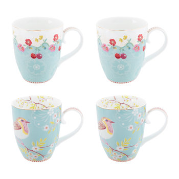 Floral 2.0 Early Bird Mugs - Set of 4 - Blue