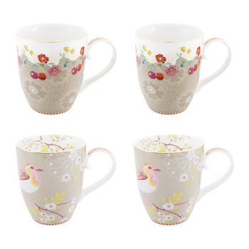 Early Bird Mugs - Set of 4 - Khaki