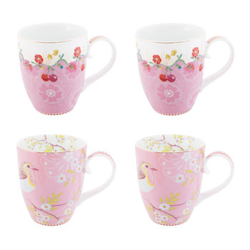 Floral 2.0 Early Bird Mugs - Set of 4 - Pink