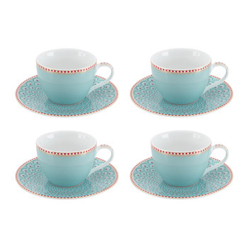 Espresso Cup & Saucer - Set of 4 - Blue