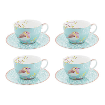 Floral 2.0 Early Bird Cappuccino Cup & Saucer - Set of 4 - Blue