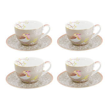 Early Bird Cappuccino Cup & Saucer - Set of 4 - Khaki
