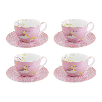 Floral 2.0 Early Bird Cappuccino Cup & Saucer - Set of 4 - Pink