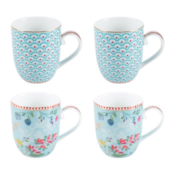 Hummingbird Mugs - Set of 4 - Blue
