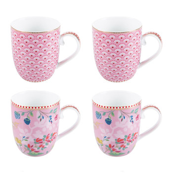Hummingbird Mugs - Set of 4 - Pink
