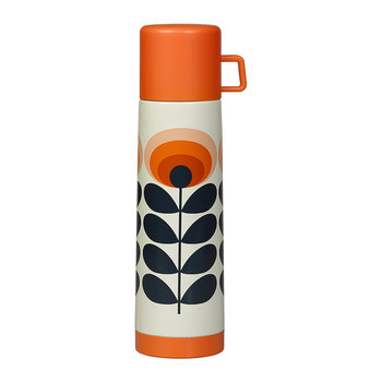 70er Oval Flower Thermosflasche - Orange - 750ml