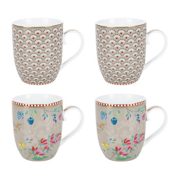 Floral 2.0 Hummingbird Mugs - Set of 4 - Khaki