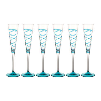 Spirale Champagne Glass - Set of 6 - Blue