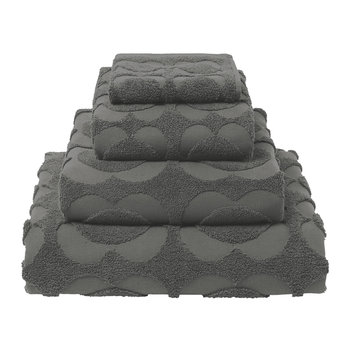 Spot Sculpted Flower Towel - Charcoal
