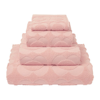Spot Sculpted Flower Towel - Pale Rose