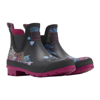 Women's Wellibob Short Black Clematis Wellies