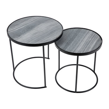 Round Table with Marble Top - Set of 2