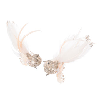 Feathered Bird Tree Decorations - Set of 2
