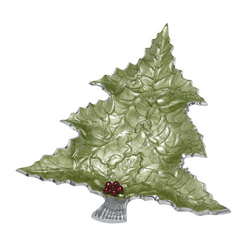 Holly Sprig Tree Platter - Mojito