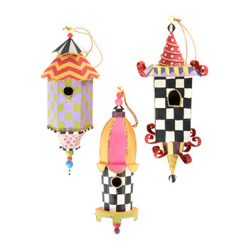 Birdhouse Tree Decorations - Set of 3