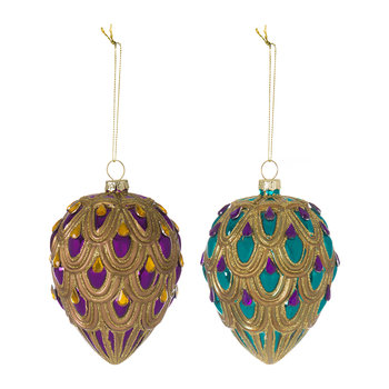 Gold Jewelled Egg Tree Decoration - Set of 2