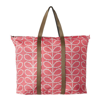 Frilly Linear Stem Foldaway Travel Bag - Pink