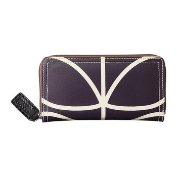 Laminated Giant Linear Stem Big Zip Wallet - Orchid