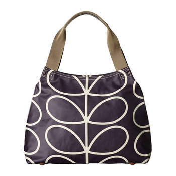 Laminated Giant Linear Stem Zip Shoulder Bag - Orchid