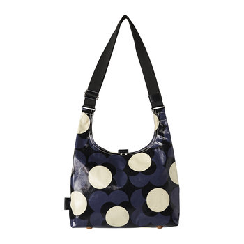 Laminated Shadow Flower Midi Sling Bag - Midnight