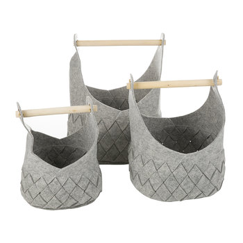Grey Felted Basket with Wooden Handles - Set of 3