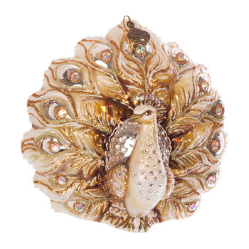 Fantail Peacock Tree Decoration - Gold