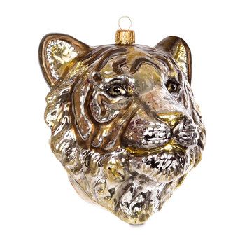 Tiger Head Tree Decoration - Gold