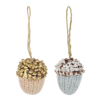 Hanging Acorn Tree Decoration - Set of 2