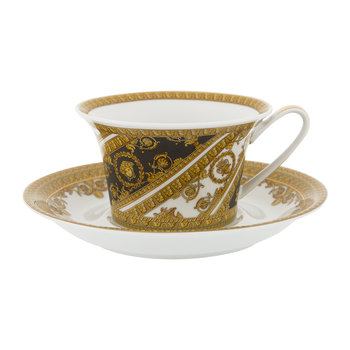 I Love Baroque Low Cup & Saucer - Set of 6 - Gold