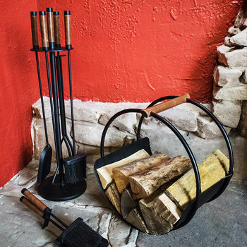 Leather Handle Fire Set
