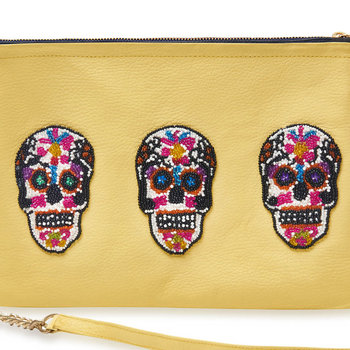 Sonora Sugar Skulls Shoulder Bag - Large - Yellow