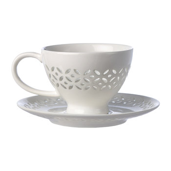 Pierced Cups and Saucers - Set of 4
