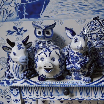 Porcelain Piggy Bank - Blue/White - Rabbit