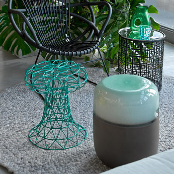 Ceramic Pill Stool - Green Bronze Gradient