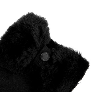 Women's Sheepskin Bow Gloves - Black