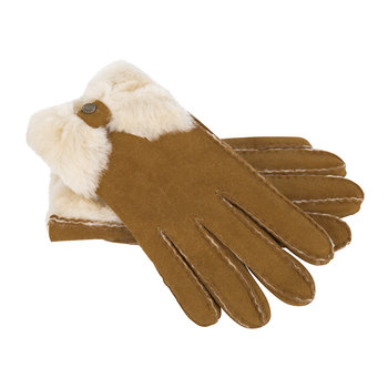 Women's Sheepskin Bow Gloves - Chestnut