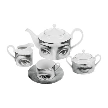 Collection de 6 Tasses à Thé Tema e Variazioni 2005 - Noir/Blanc