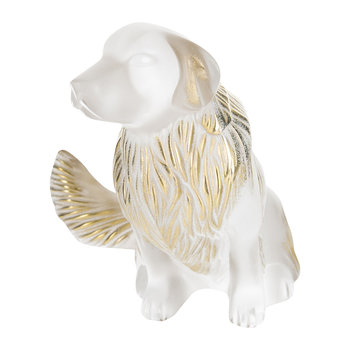 Golden Retriever Sculpture - Clear & Gold